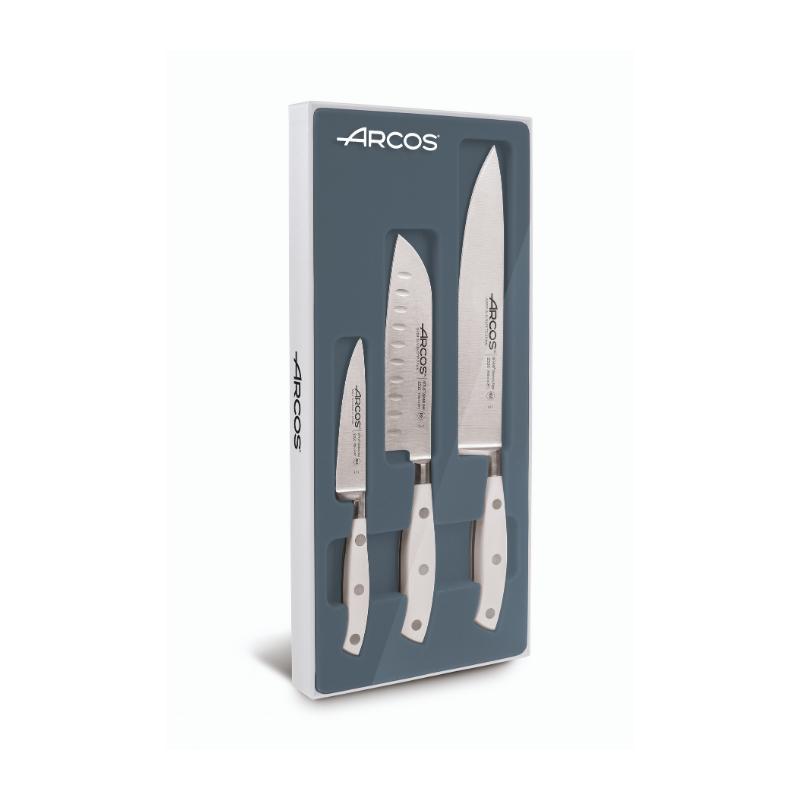 Set 3 couteaux ARCOS Riviera blancs